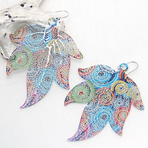 Big Colourful Leaf Laser Cut Light Earrings