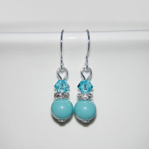Light Turquoise Blue Crystal and Pearl Swarovski Earrings