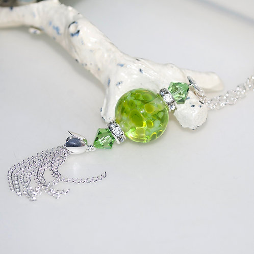Lime Green Speckle Lampwork Glass Silver Tassel Necklace