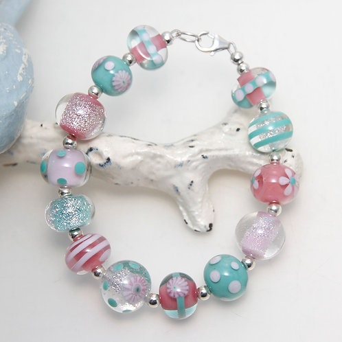 Pretty Pink and Turquoise Lampwork Glass Sterling Silver Bracelet