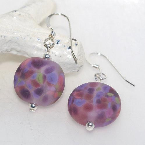 Satin Purple Garden Speckle Earrings