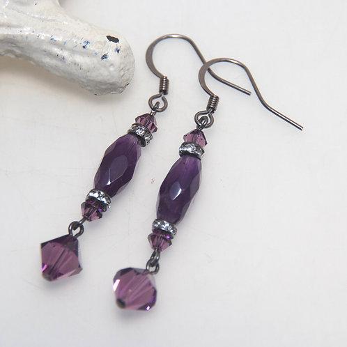 Amethyst and Swarovski Crystal Drop Earrings