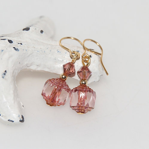 Czech Glass Cathedral Cut Vintage Rose Earring Pair