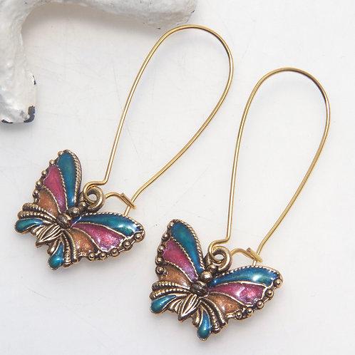 Golden Colourful Butterfly Earrings
