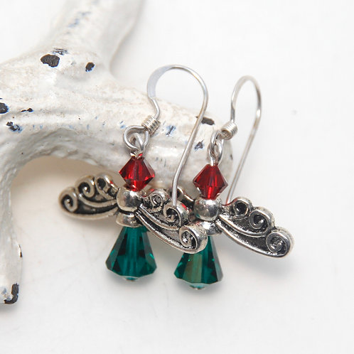Christmas Angels Swarovski Crystal Earrings on Sterling Silver