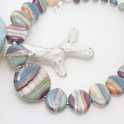 Colourful Organic Lampwork Glass Pebble Necklace