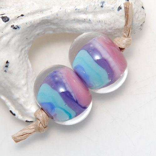 Pink Purple and Blue Striped Lampwork Glass Bead Pair
