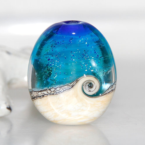 Oceanic Blue Beach Lampwork Glass Bead