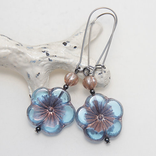 Trans Blue Hibiscus Window Czech Glass Surgical Steel Earrings