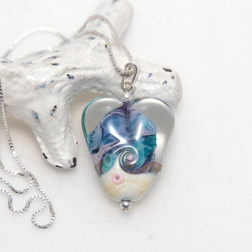 Heart Beach Swirl Lampwork Glass Necklace