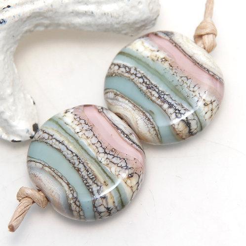 Pastel Sandstone Striped Lampwork Glass Bead Pair