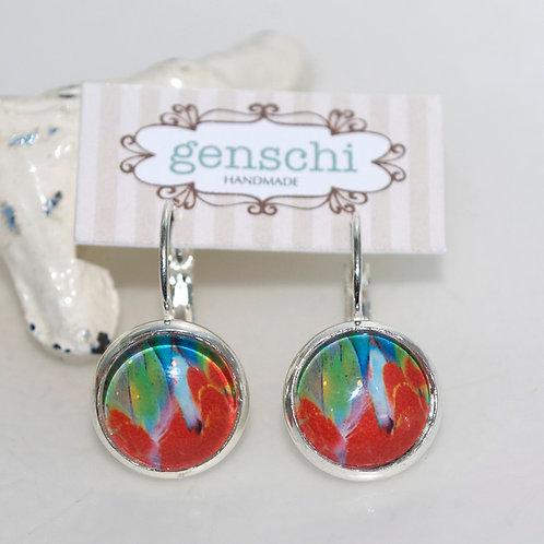 Colour Splash Dome Glass Earrings with Hinge Hooks