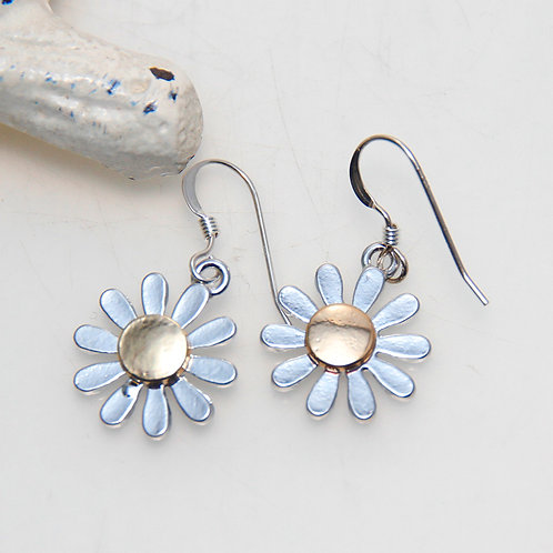Bi Metal Nickel and Gold Daisy Flower Earrings
