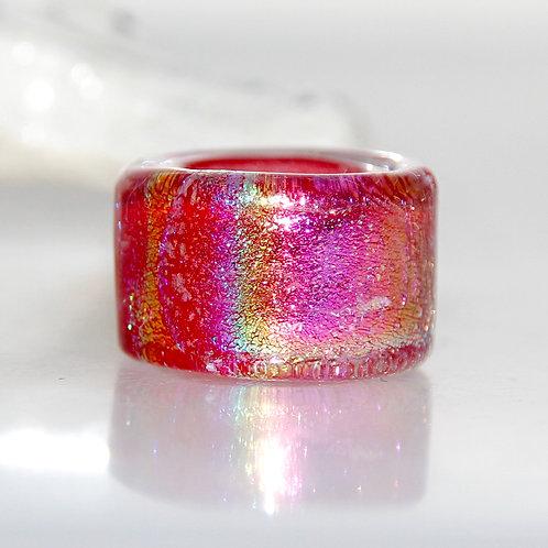 Red Dichroic Rainbow Sparkly Glass Dreadlock Bead 10mm Hole