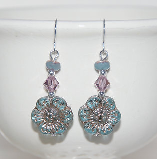Czech Glass Blue Wildflower with Mauve Swarovski Earrings
