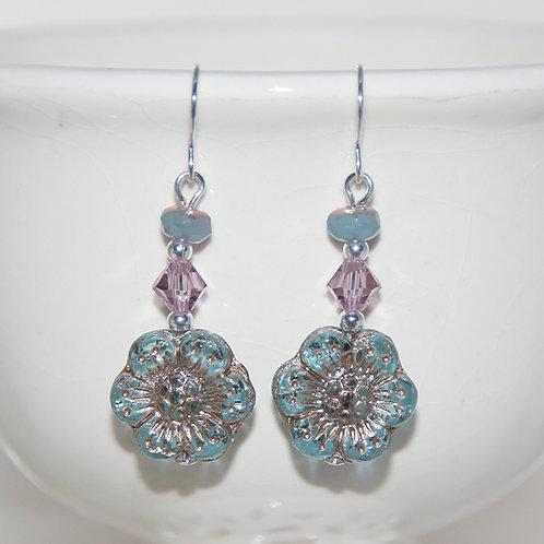 Czech Glass Blue Wildflower with Mauve Swarovski Earrings