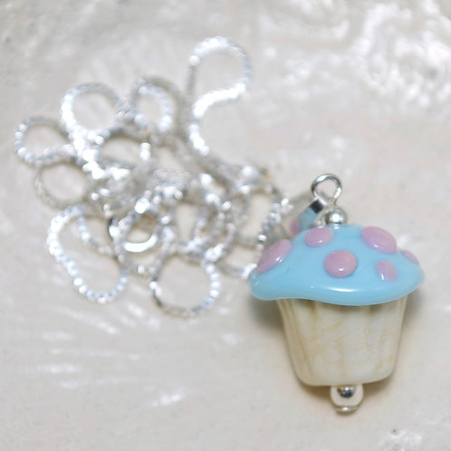 Blue Iced Cupcake Glass Sterling Silver Necklace