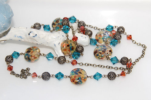 Country Speckle Glass Bead Necklace
