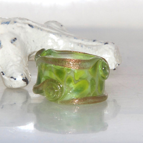 Lime Green Speckled Glass Dread Bead