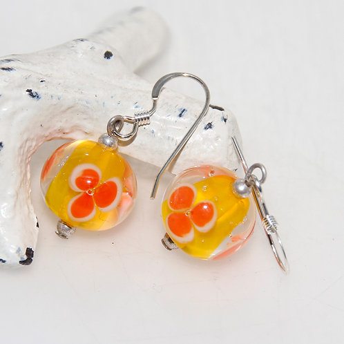 Bright Yellow and Orange Flower Lampwork Glass Earrings