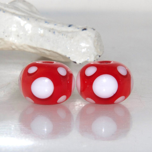 Red and White Polkadot Lampwork Glass Bead Pair