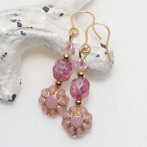 Czech Glass Little Pink Daisy with Mottled Pink Gold Earrings
