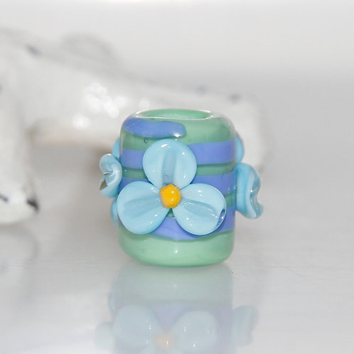 Flower Blue and Green Dread Bead 5.5mm Hole