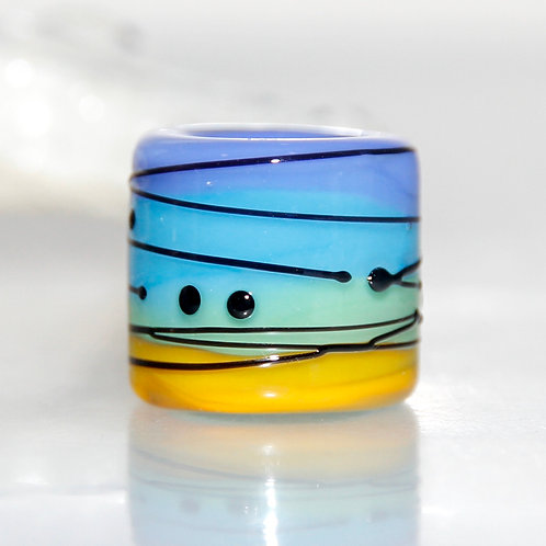 Blue to Yellow Striped with Black Glass Dreadlock Bead 8.5mm Hole