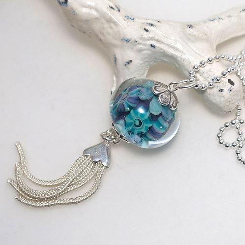 Teal Purple Murrini Glass Ball Sterling Silver Tassel Necklace