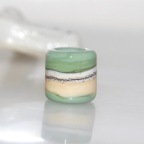Green Moss Ivory Organic Dread Bead 7mm Hole