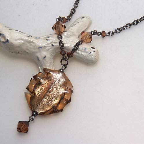 Brown Foil Twist Chain Necklace