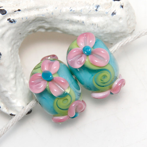 Aqua Pink Floral Swirly Lampwork Glass Bead Pair