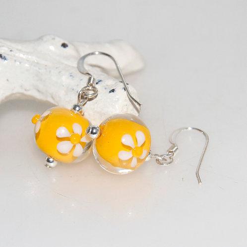 Little White Daisy Yellow Lampwork Glass Earrings