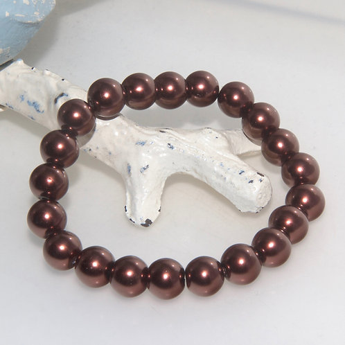 Chocolate Brown Pearl Elastic Bracelet