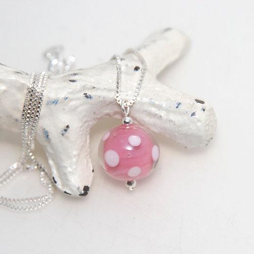 Pink Polkadot Glass Petite Sterling Silver Necklace