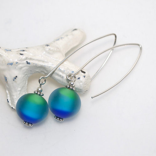 Satin Green Blue Earrings