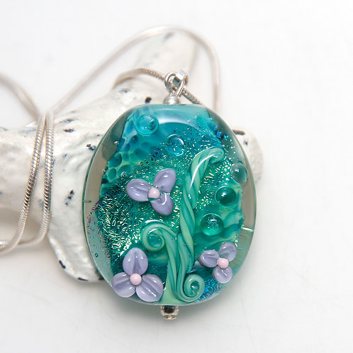 Jungle Green and Purple Floral Lampwork Glass Pendant on Sterling Silver