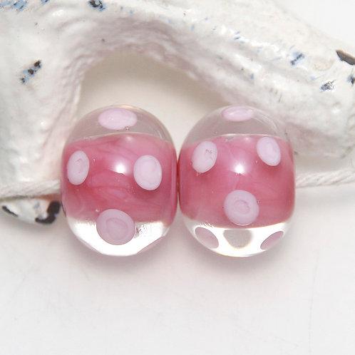 Pink on Pink Polkadot Lampwork Glass Bead Pair