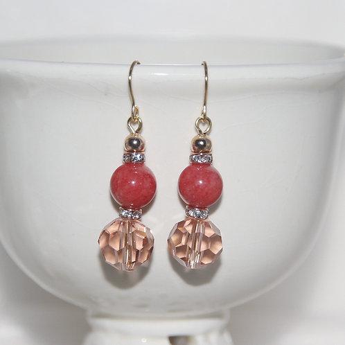 Watermelon Jade Goldtone Earrings