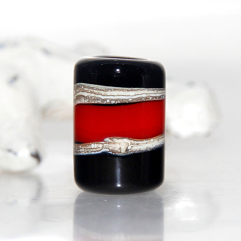 Black and Red Dread Bead 7mm Hole