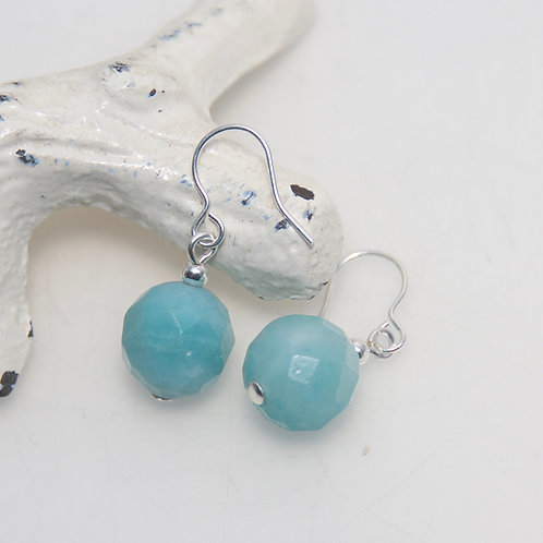 Amazonite Faceted Round Earrings