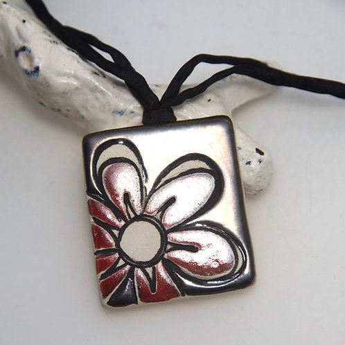 Handmade Ceramic Pendant with Red Flower