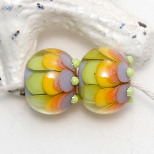 Citrus Lavender Petals Lampwork Glass Bead Pair