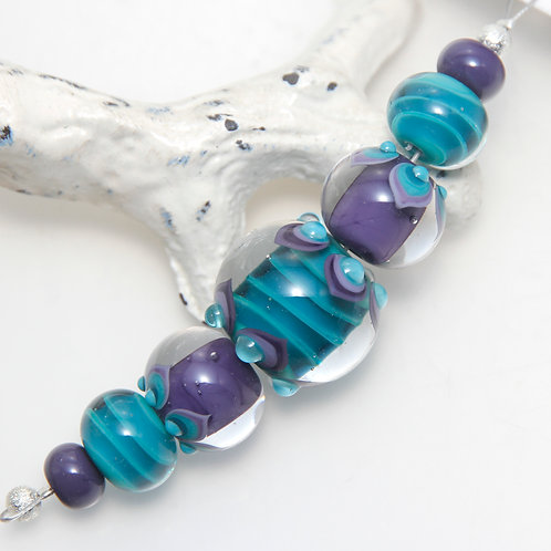 Purple and Teally Striped Spotted Lampwork Glass Bead Set