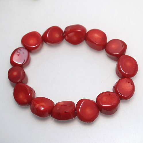 Chunky Red Coral Elastic Bracelet