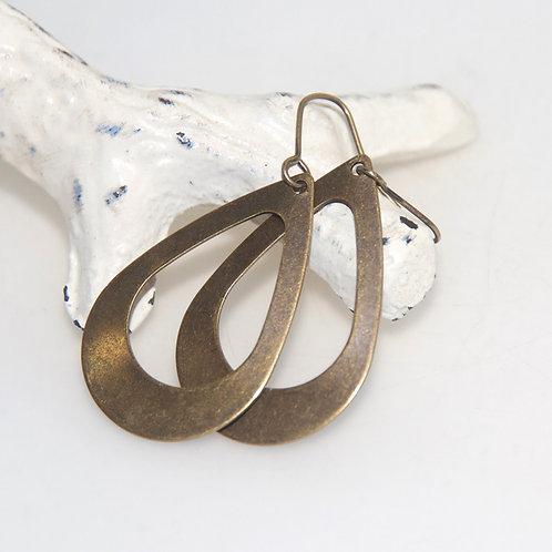 Antique Brass Open Hoop Earrings