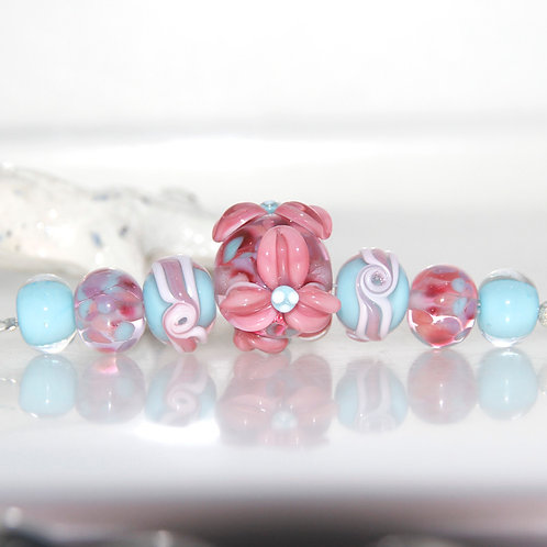 Pink Flower with Blue Lampwork Glass Bead Set
