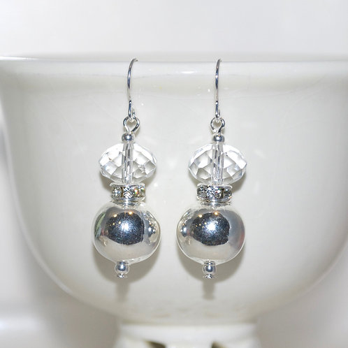 Silver Ball and Crystal Earrings