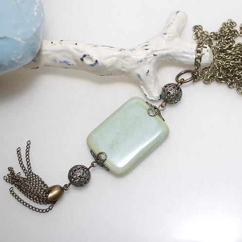 Sage Green Ceramic Tassel Necklace
