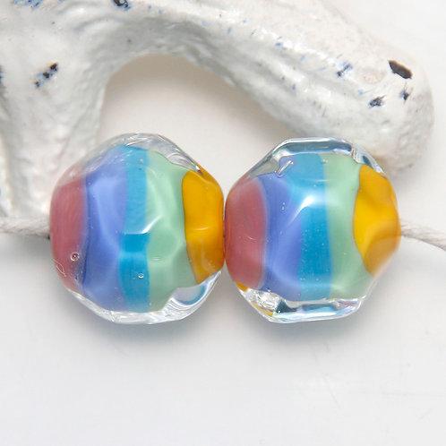 Summer Rainbow Striped Nugget Lampwork Glass Bead Pair